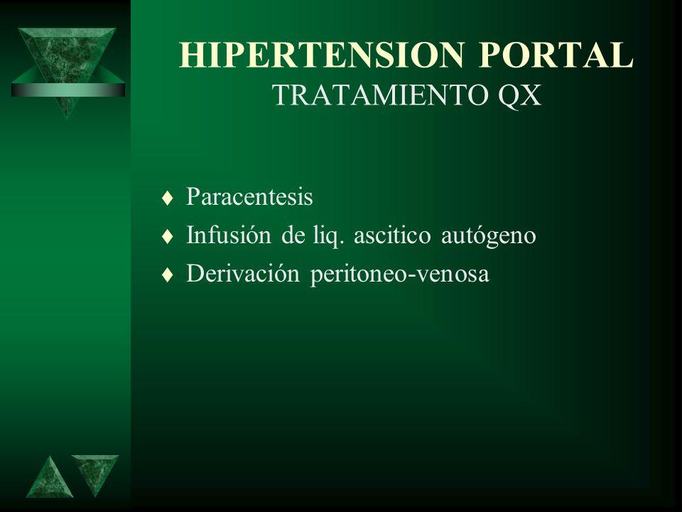 HIPERTENSION PORTAL TRATAMIENTO QX Paracentesis Infusión de liq. ascitico autógeno Derivación peritoneo-venosa