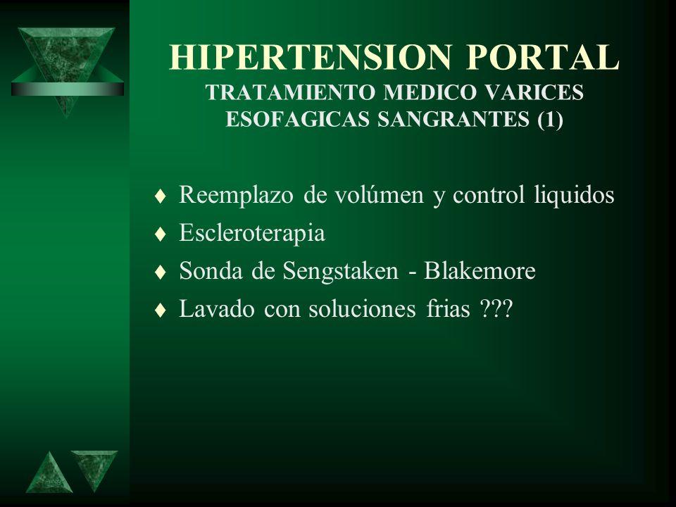 Reemplazo de volúmen y control liquidos Escleroterapia Sonda de Sengstaken - Blakemore Lavado con soluciones frias ??? HIPERTENSION PORTAL TRATAMIENTO