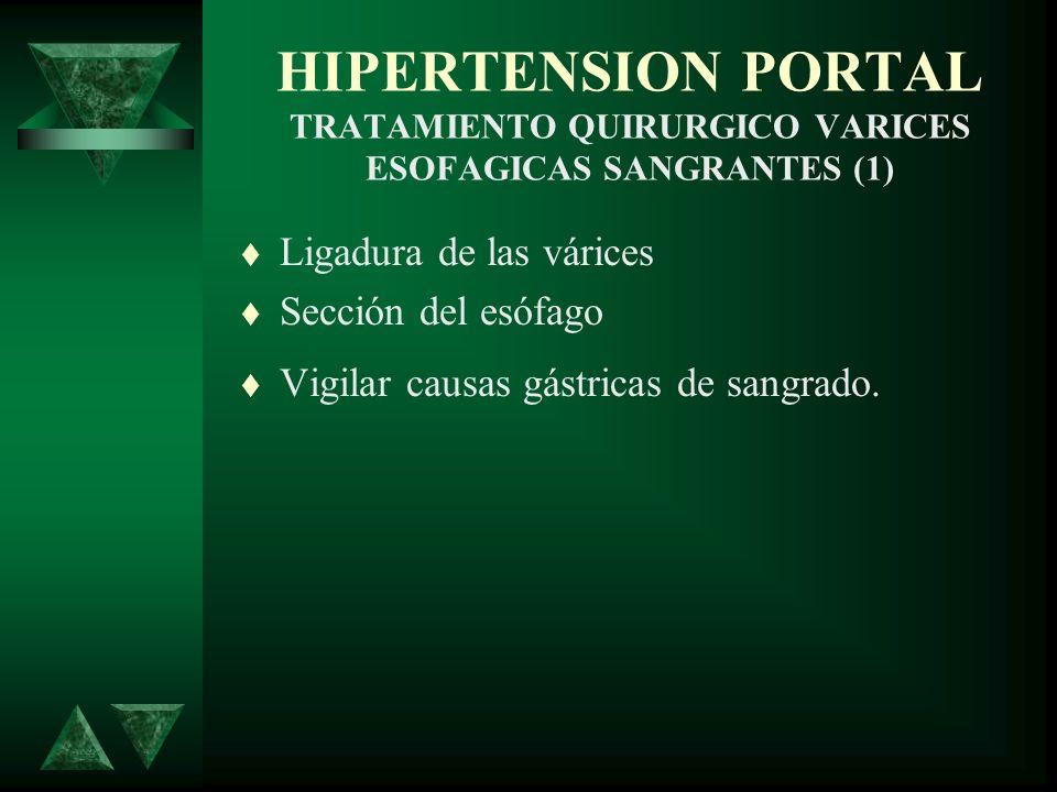 HIPERTENSION PORTAL TRATAMIENTO QUIRURGICO VARICES ESOFAGICAS SANGRANTES (1) Ligadura de las várices Sección del esófago Vigilar causas gástricas de s