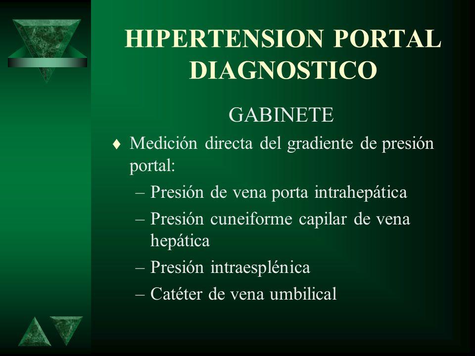 HIPERTENSION PORTAL DIAGNOSTICO GABINETE Medición directa del gradiente de presión portal: –Presión de vena porta intrahepática –Presión cuneiforme ca