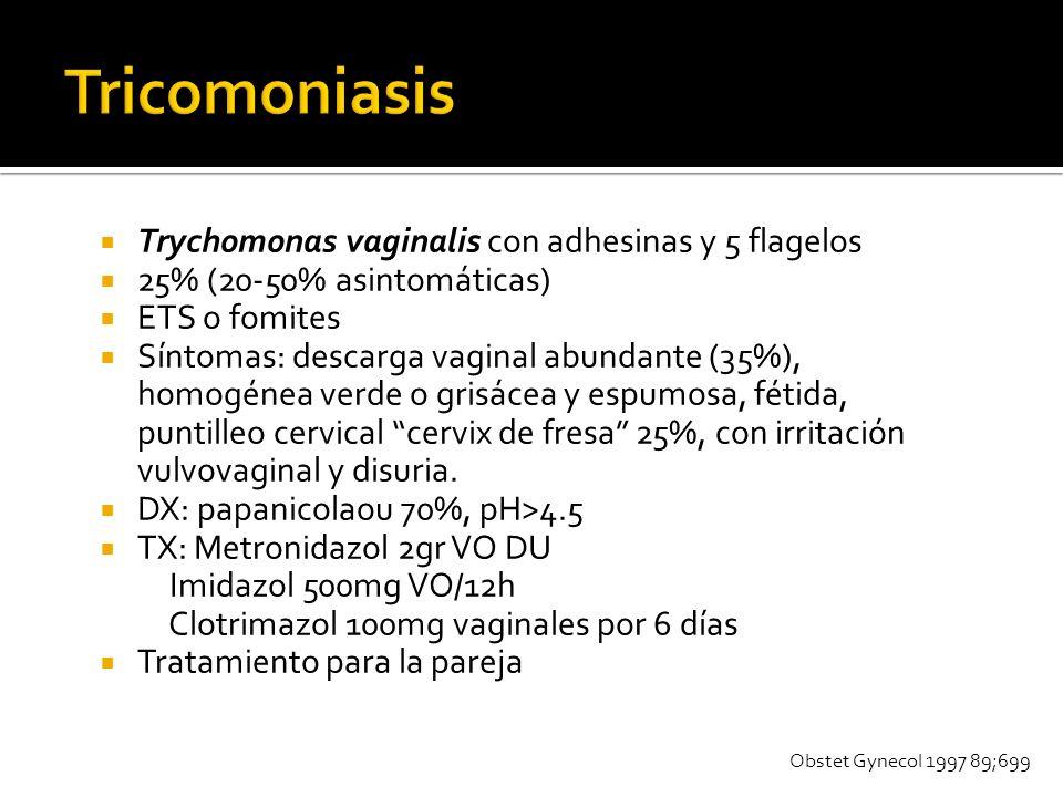 Trychomonas vaginalis con adhesinas y 5 flagelos 25% (20-50% asintomáticas) ETS o fomites Síntomas: descarga vaginal abundante (35%), homogénea verde