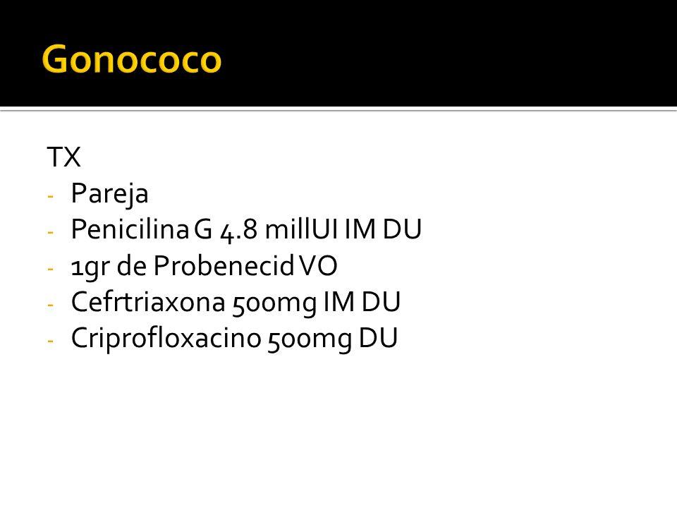 TX - Pareja - Penicilina G 4.8 millUI IM DU - 1gr de Probenecid VO - Cefrtriaxona 500mg IM DU - Criprofloxacino 500mg DU