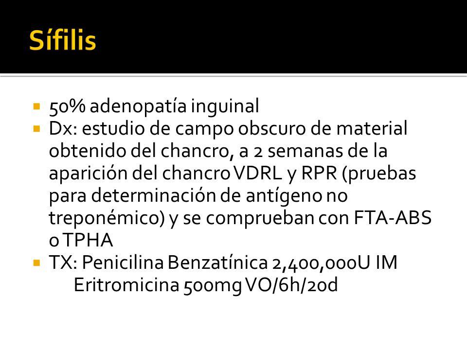 50% adenopatía inguinal Dx: estudio de campo obscuro de material obtenido del chancro, a 2 semanas de la aparición del chancro VDRL y RPR (pruebas par