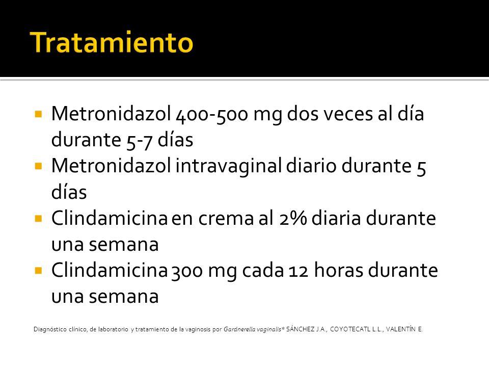 Metronidazol 400-500 mg dos veces al día durante 5-7 días Metronidazol intravaginal diario durante 5 días Clindamicina en crema al 2% diaria durante u