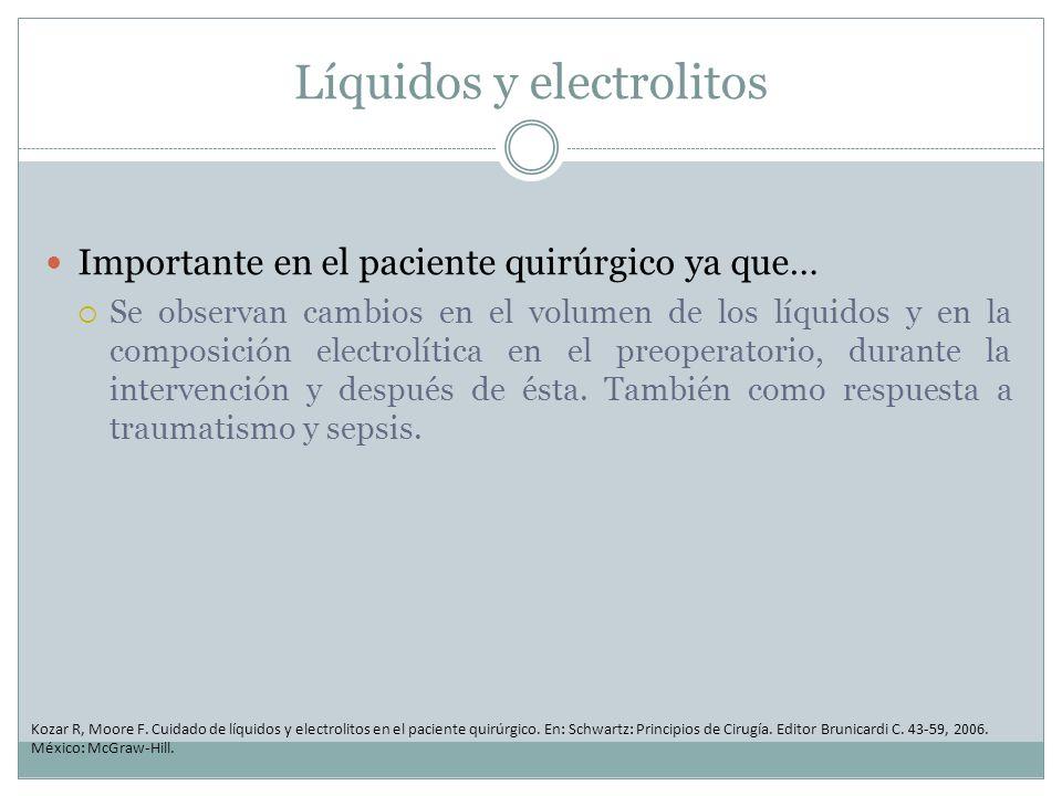 Líquidos y electrolitos Importante en el paciente quirúrgico ya que… Se observan cambios en el volumen de los líquidos y en la composición electrolíti