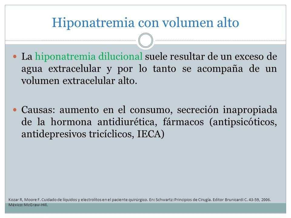 Hiponatremia con volumen alto La hiponatremia dilucional suele resultar de un exceso de agua extracelular y por lo tanto se acompaña de un volumen ext