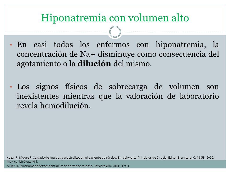 Hiponatremia con volumen alto En casi todos los enfermos con hiponatremia, la concentración de Na+ disminuye como consecuencia del agotamiento o la di