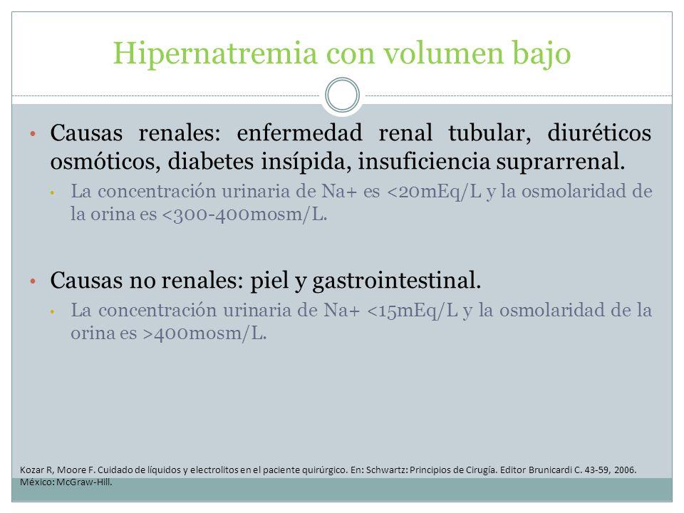 Hipernatremia con volumen bajo Causas renales: enfermedad renal tubular, diuréticos osmóticos, diabetes insípida, insuficiencia suprarrenal. La concen