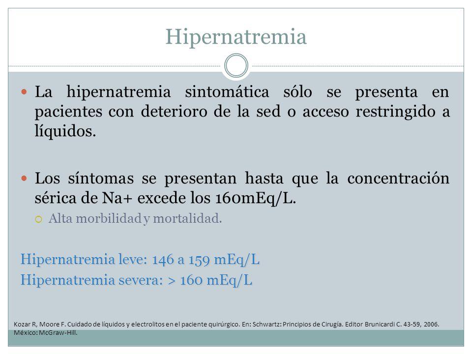 Hipernatremia La hipernatremia sintomática sólo se presenta en pacientes con deterioro de la sed o acceso restringido a líquidos. Los síntomas se pres