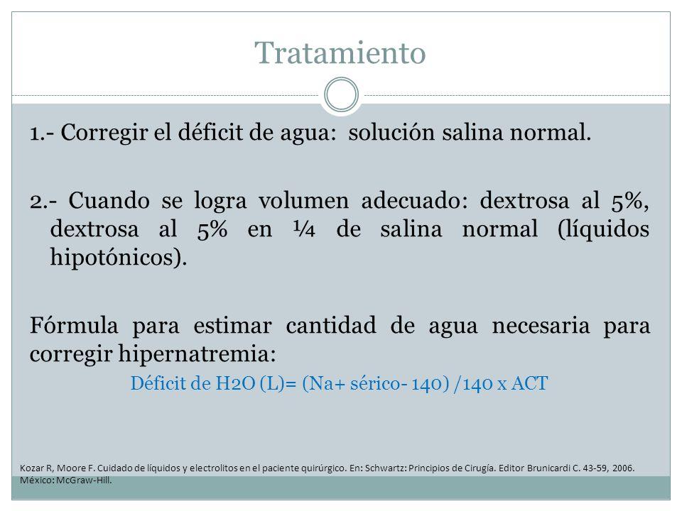 Tratamiento 1.- Corregir el déficit de agua: solución salina normal. 2.- Cuando se logra volumen adecuado: dextrosa al 5%, dextrosa al 5% en ¼ de sali