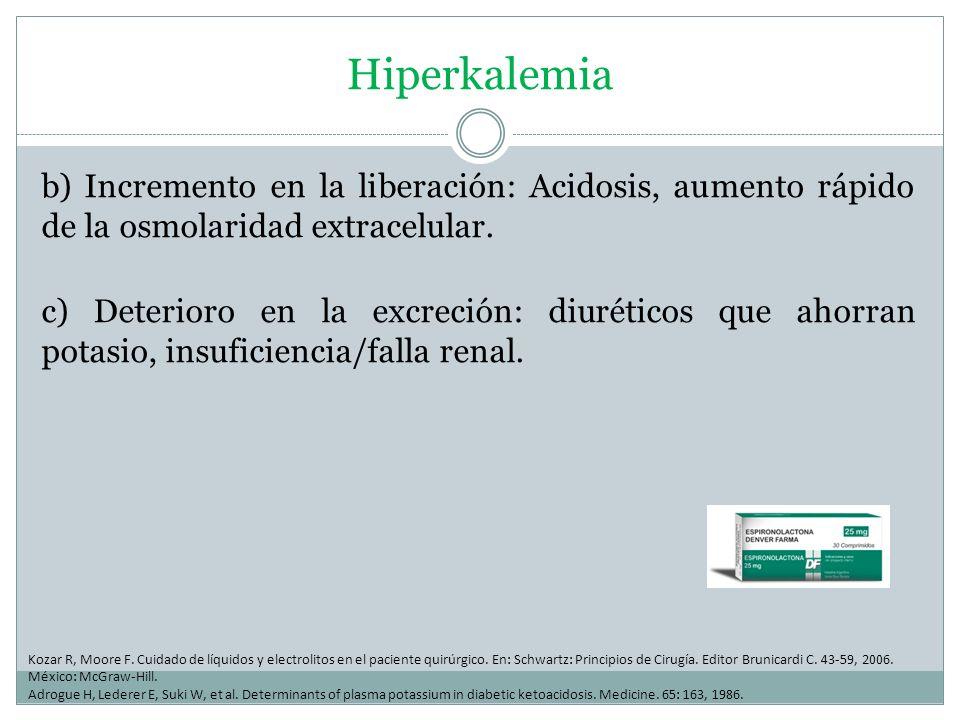 Hiperkalemia b) Incremento en la liberación: Acidosis, aumento rápido de la osmolaridad extracelular. c) Deterioro en la excreción: diuréticos que aho
