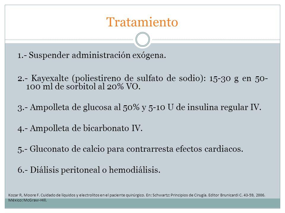 Tratamiento 1.- Suspender administración exógena. 2.- Kayexalte (poliestireno de sulfato de sodio): 15-30 g en 50- 100 ml de sorbitol al 20% VO. 3.- A