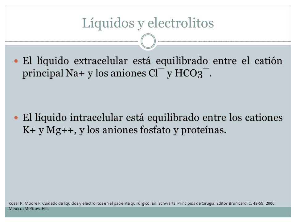 Líquidos y electrolitos El líquido extracelular está equilibrado entre el catión principal Na+ y los aniones Cl¯ y HCO3¯. El líquido extracelular está