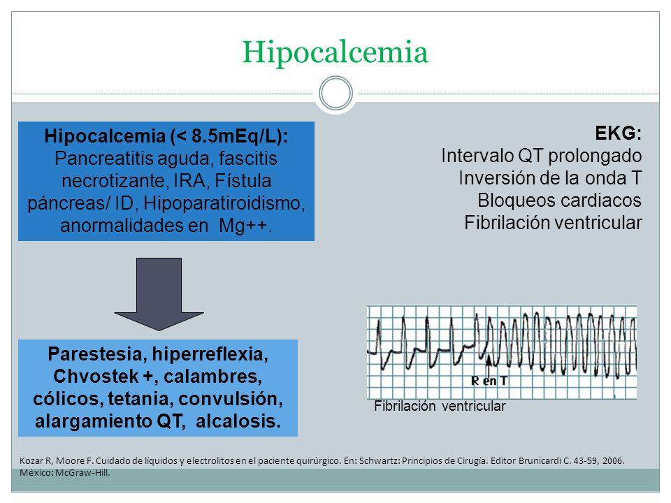 Hipocalcemia Kozar R, Moore F. Cuidado de líquidos y electrolitos en el paciente quirúrgico. En: Schwartz: Principios de Cirugía. Editor Brunicardi C.