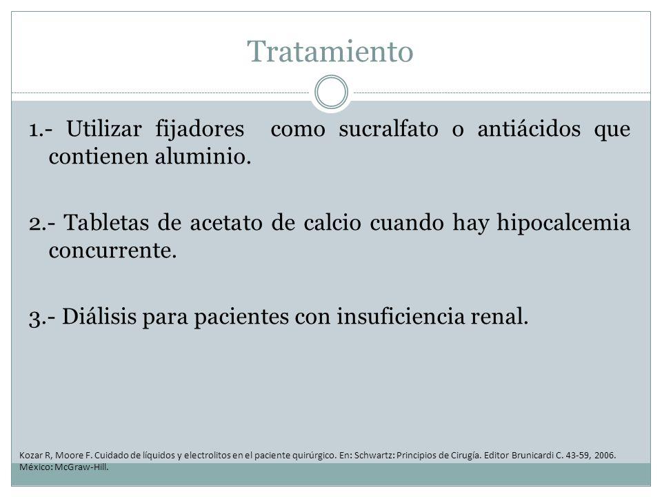 Tratamiento 1.- Utilizar fijadores como sucralfato o antiácidos que contienen aluminio. 2.- Tabletas de acetato de calcio cuando hay hipocalcemia conc