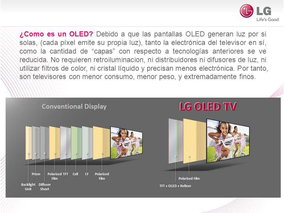 ¿Como es un OLED? Debido a que las pantallas OLED generan luz por si solas, (cada píxel emite su propia luz), tanto la electrónica del televisor en sí