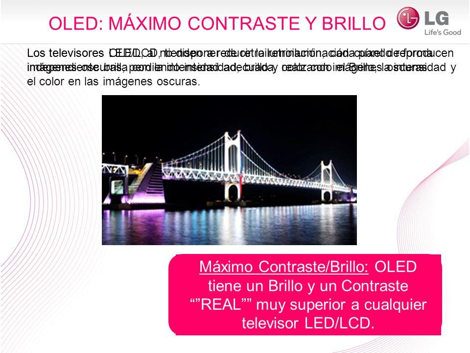 Máximo Contraste/Brillo: OLED tiene un Brillo y un Contraste REAL muy superior a cualquier televisor LED/LCD. Los televisores LED/LCD, tienden a reduc