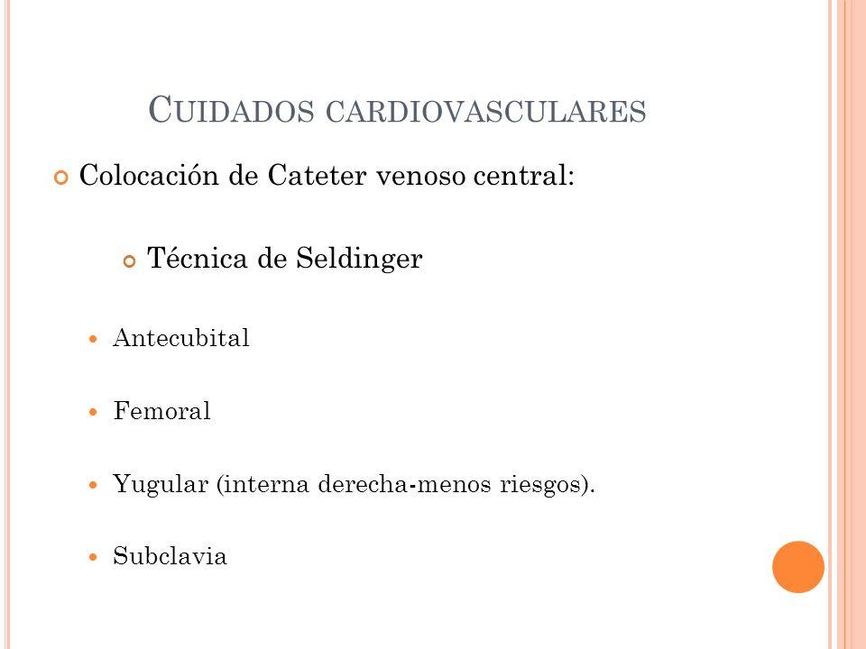 C UIDADOS CARDIOVASCULARES Colocación de Cateter venoso central: Técnica de Seldinger Antecubital Femoral Yugular (interna derecha-menos riesgos). Sub
