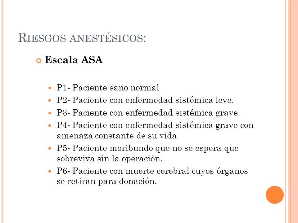 R IESGOS ANESTÉSICOS : Escala ASA P1- Paciente sano normal P2- Paciente con enfermedad sistémica leve. P3- Paciente con enfermedad sistémica grave. P4