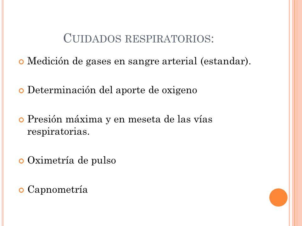 C UIDADOS RESPIRATORIOS : Medición de gases en sangre arterial (estandar). Determinación del aporte de oxigeno Presión máxima y en meseta de las vías