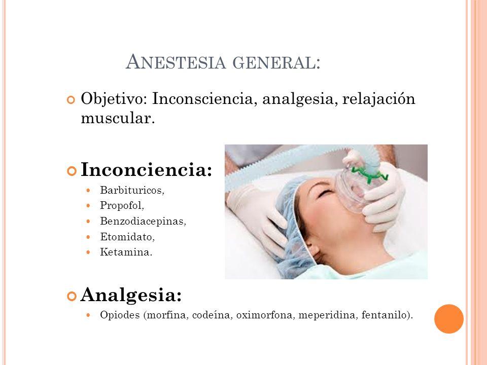 A NESTESIA GENERAL : Objetivo: Inconsciencia, analgesia, relajación muscular. Inconciencia: Barbituricos, Propofol, Benzodiacepinas, Etomidato, Ketami