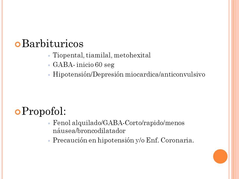 Barbituricos Tiopental, tiamilal, metohexital GABA- inicio 60 seg Hipotensión/Depresión miocardica/anticonvulsivo Propofol: Fenol alquilado/GABA-Corto
