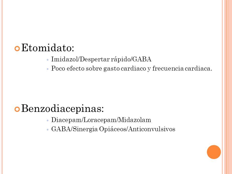 Etomidato: Imidazol/Despertar rápido/GABA Poco efecto sobre gasto cardiaco y frecuencia cardiaca. Benzodiacepinas: Diacepam/Loracepam/Midazolam GABA/S