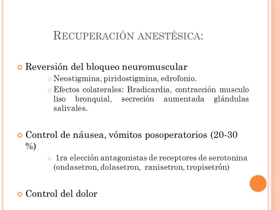 R ECUPERACIÓN ANESTÉSICA : Reversión del bloqueo neuromuscular Neostigmina, piridostigmina, edrofonio. Efectos colaterales: Bradicardia, contracción m