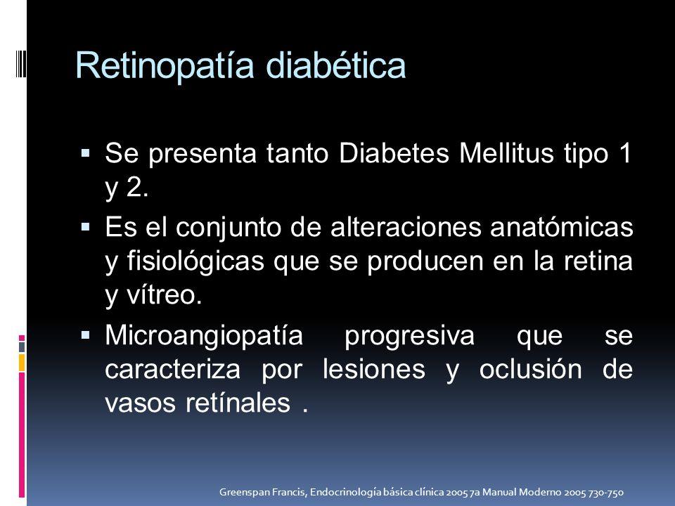 Retinopatía diabética Se presenta tanto Diabetes Mellitus tipo 1 y 2. Es el conjunto de alteraciones anatómicas y fisiológicas que se producen en la r
