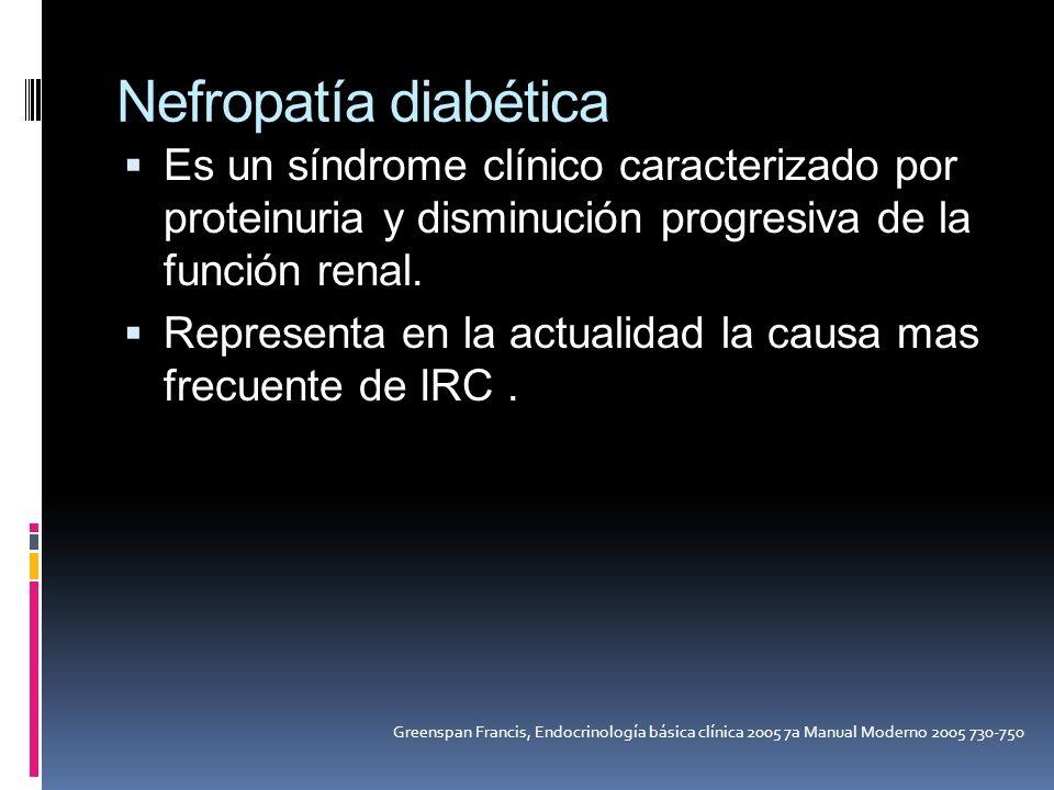 Nefropatía diabética Es un síndrome clínico caracterizado por proteinuria y disminución progresiva de la función renal. Representa en la actualidad la