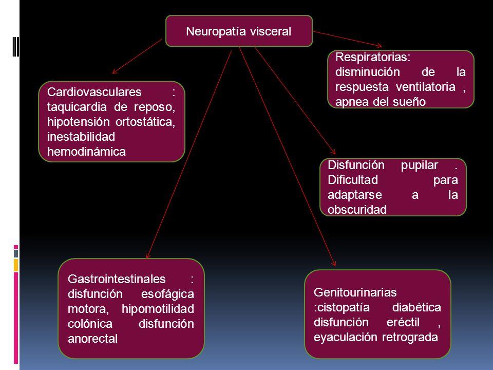 Neuropatía visceral Respiratorias: disminución de la respuesta ventilatoria, apnea del sueño Disfunción pupilar. Dificultad para adaptarse a la obscur
