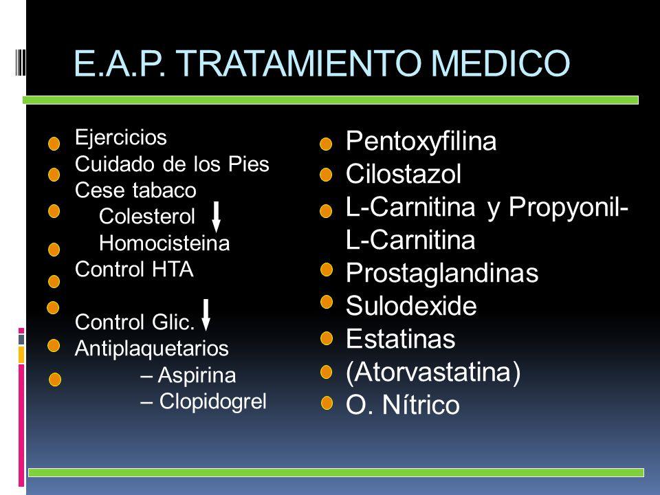 E.A.P. TRATAMIENTO MEDICO Ejercicios Cuidado de los Pies Cese tabaco Colesterol Homocisteina Control HTA Control Glic. Antiplaquetarios – Aspirina – C
