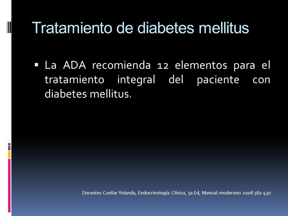 Tratamiento de diabetes mellitus La ADA recomienda 12 elementos para el tratamiento integral del paciente con diabetes mellitus. Dorantes Cuellar Yola