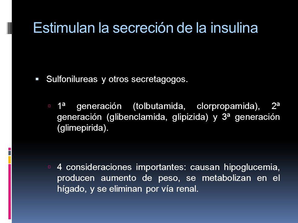 Estimulan la secreción de la insulina Sulfonilureas y otros secretagogos. 1ª generación (tolbutamida, clorpropamida), 2ª generación (glibenclamida, gl