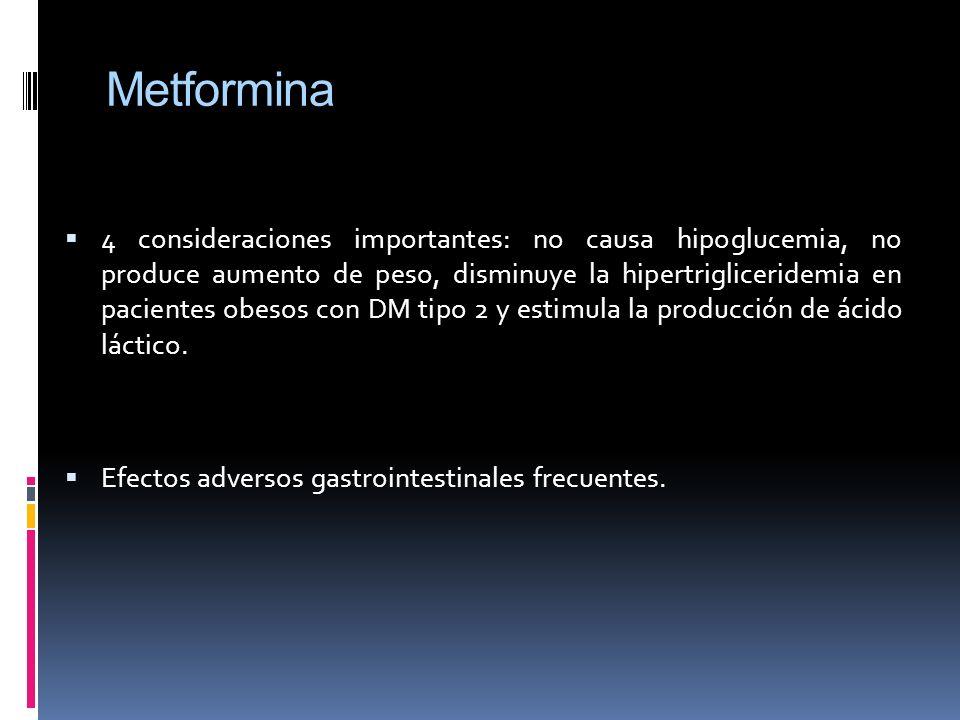 Metformina 4 consideraciones importantes: no causa hipoglucemia, no produce aumento de peso, disminuye la hipertrigliceridemia en pacientes obesos con