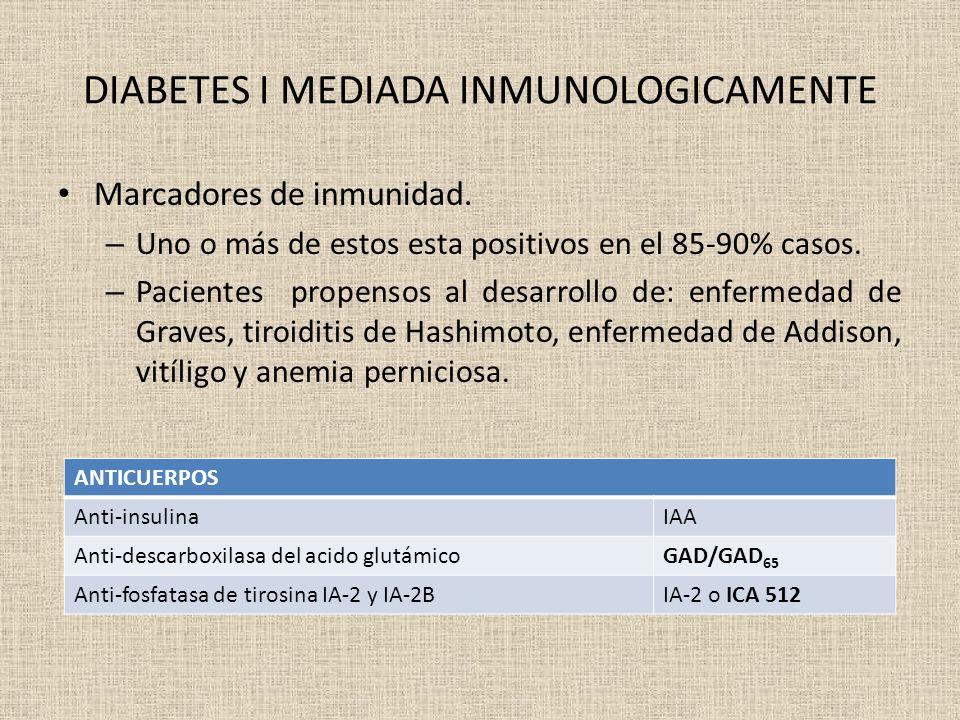DIABETES I MEDIADA INMUNOLOGICAMENTE Marcadores de inmunidad. – Uno o más de estos esta positivos en el 85-90% casos. – Pacientes propensos al desarro