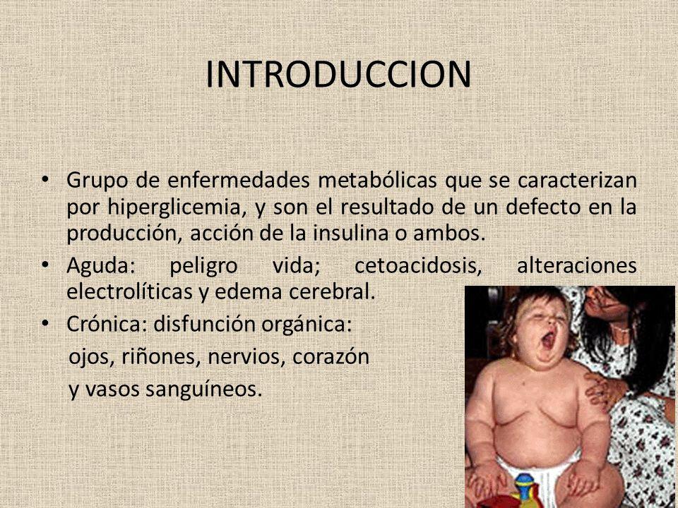 INTRODUCCION Grupo de enfermedades metabólicas que se caracterizan por hiperglicemia, y son el resultado de un defecto en la producción, acción de la