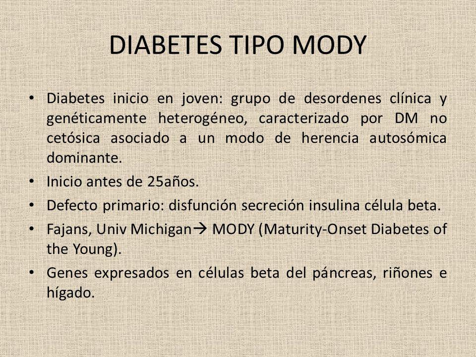 DIABETES TIPO MODY Diabetes inicio en joven: grupo de desordenes clínica y genéticamente heterogéneo, caracterizado por DM no cetósica asociado a un m