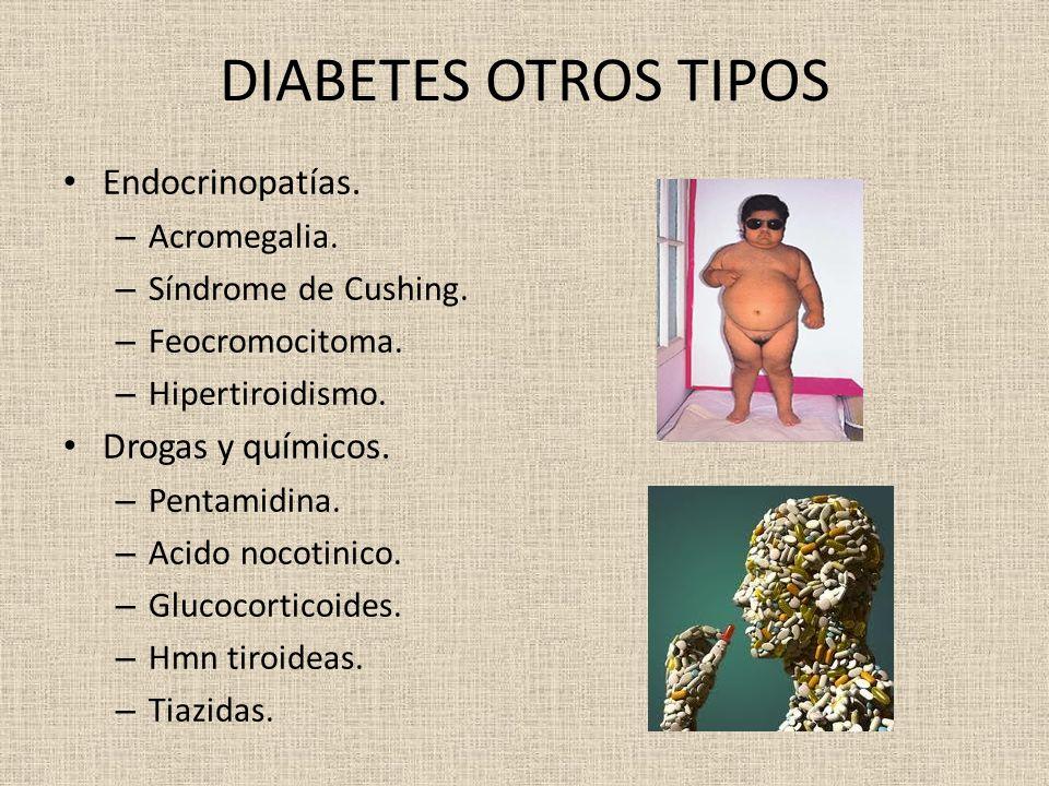 DIABETES OTROS TIPOS Endocrinopatías. – Acromegalia. – Síndrome de Cushing. – Feocromocitoma. – Hipertiroidismo. Drogas y químicos. – Pentamidina. – A