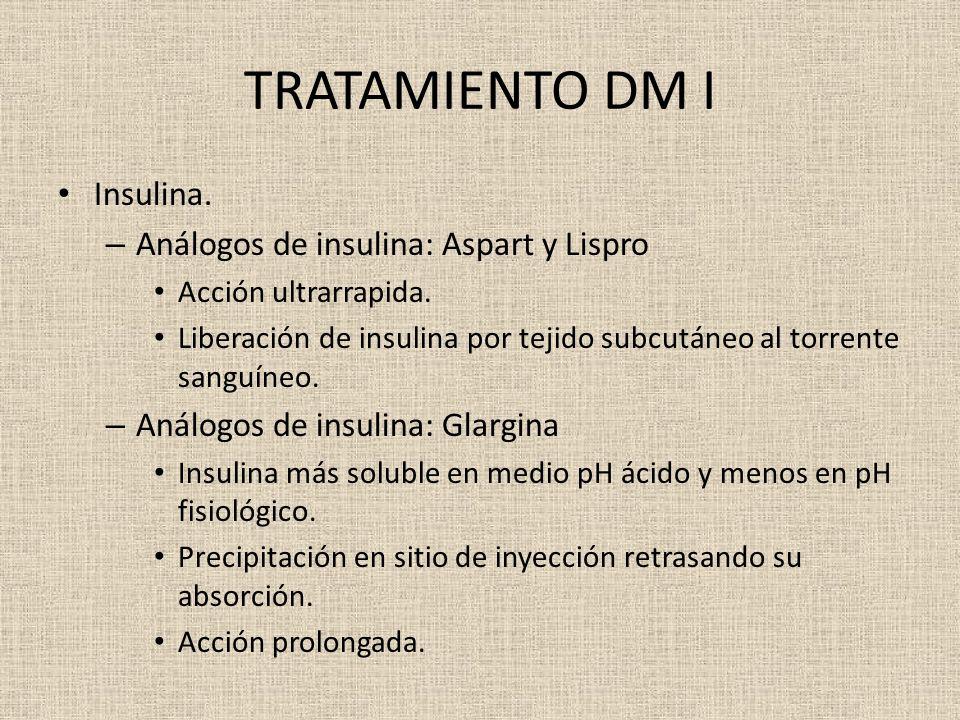 TRATAMIENTO DM I Insulina. – Análogos de insulina: Aspart y Lispro Acción ultrarrapida. Liberación de insulina por tejido subcutáneo al torrente sangu