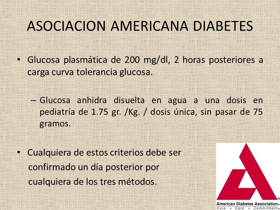 ASOCIACION AMERICANA DIABETES Glucosa plasmática de 200 mg/dl, 2 horas posteriores a carga curva tolerancia glucosa. – Glucosa anhidra disuelta en agu