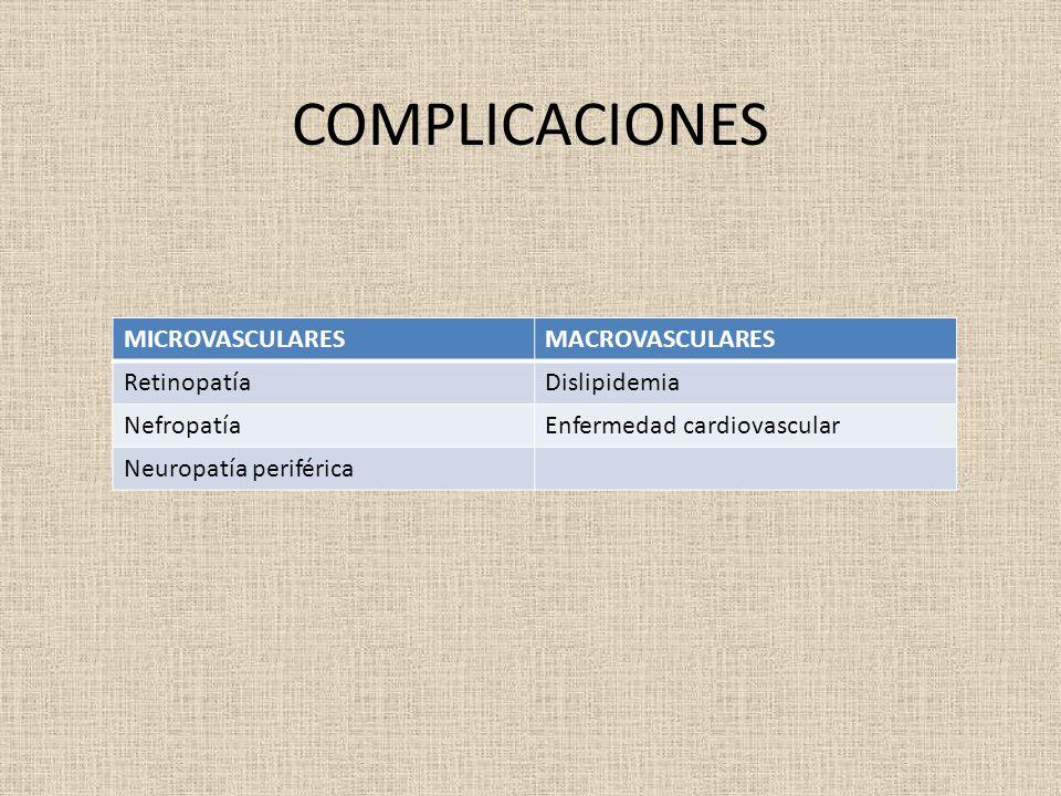 COMPLICACIONES MICROVASCULARESMACROVASCULARES RetinopatíaDislipidemia NefropatíaEnfermedad cardiovascular Neuropatía periférica