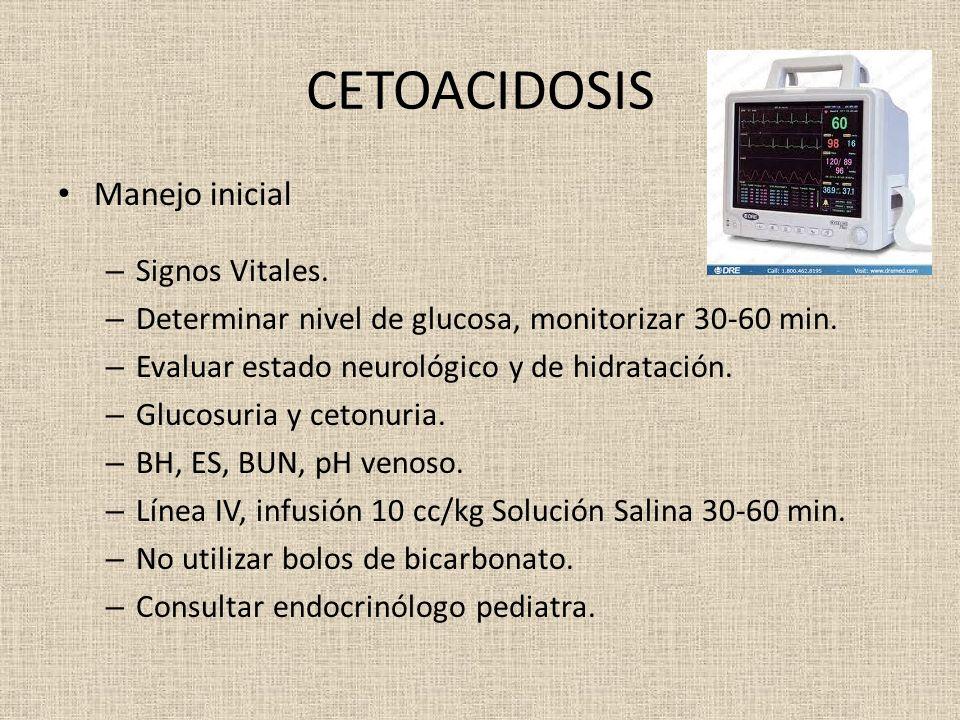 CETOACIDOSIS Manejo inicial – Signos Vitales. – Determinar nivel de glucosa, monitorizar 30-60 min. – Evaluar estado neurológico y de hidratación. – G