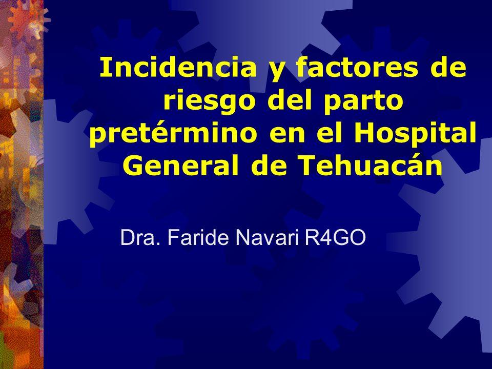 Incidencia y factores de riesgo del parto pretérmino en el Hospital General de Tehuacán Dra. Faride Navari R4GO
