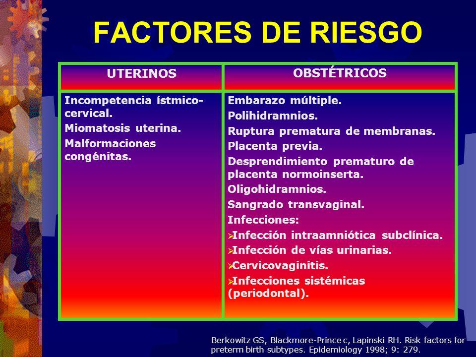 UTERINOSOBSTÉTRICOS Incompetencia ístmico- cervical. Miomatosis uterina. Malformaciones congénitas. Embarazo múltiple. Polihidramnios. Ruptura prematu