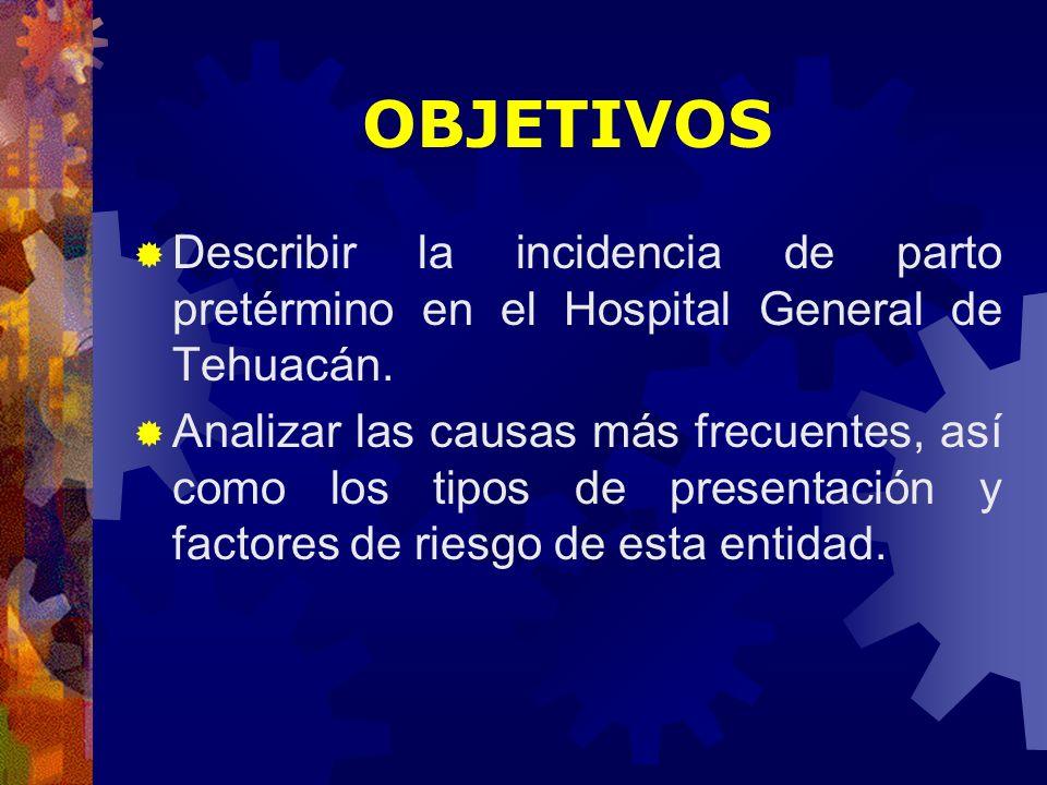 OBJETIVOS Describir la incidencia de parto pretérmino en el Hospital General de Tehuacán. Analizar las causas más frecuentes, así como los tipos de pr