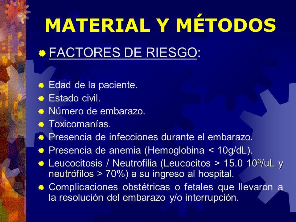 FACTORES DE RIESGO: Edad de la paciente. Estado civil. Número de embarazo. Toxicomanías. Presencia de infecciones durante el embarazo. Presencia de an