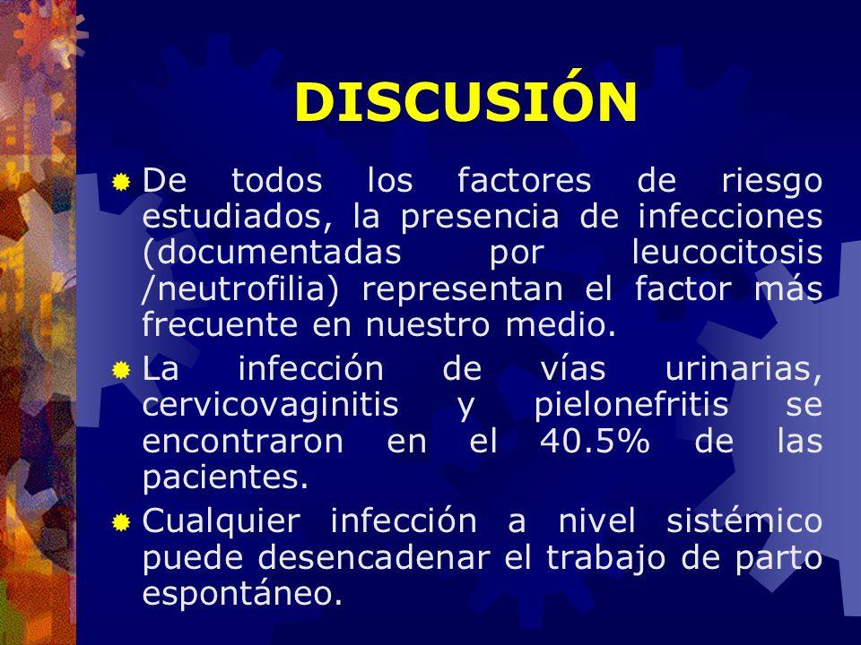 De todos los factores de riesgo estudiados, la presencia de infecciones (documentadas por leucocitosis /neutrofilia) representan el factor más frecuen