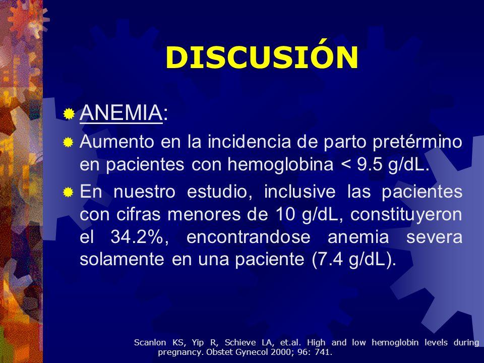 ANEMIA: Aumento en la incidencia de parto pretérmino en pacientes con hemoglobina < 9.5 g/dL. En nuestro estudio, inclusive las pacientes con cifras m