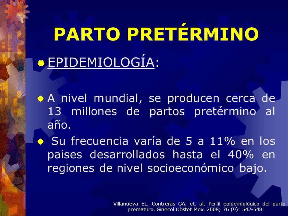 Se clasificaron según el tipo de presentación de parto prematuro: Trabajo de parto espontáneo con membranas íntegras.
